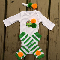 Baby Ninja Turtle Girl Outfit - Baby Shower - Halloween - Dress Up - Birthday