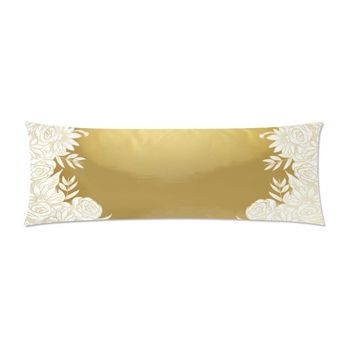 """Gold Flowers Body Pillow Cover 21""""x 60"""""""