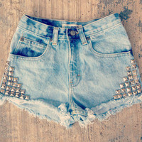 Denim Lower Corner Studded High Waisted Shorts