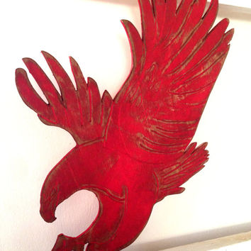 Red Eagle  Sign Wooden  Destressed Wall Art Beach Coastal Sign Outdoor And Indoor Beach Decor