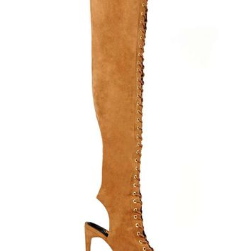 Jeffrey Campbell Audacity Lace Up Heel - Tan Suede