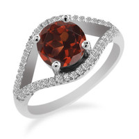 Round Red Garnet 925 Sterling Silver Ring