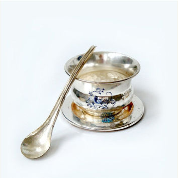 SALE 15% OFF Vintage Silverplated Jam Bowl with Plate and Spoon, Silverplated sugar bowl ,condiment set .