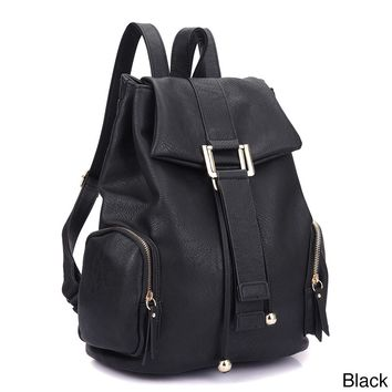 DASEIN - Faux Leather Drawstring Accent Backpack with Side Pockets*