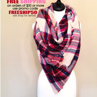 Pink blanket scarf oversized plaid tartan zscarf SALE fall winter