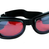 Red Lens Black Frame Motorcycle Goggles Sport Sunglasses Cyber Goth Cosplay Club