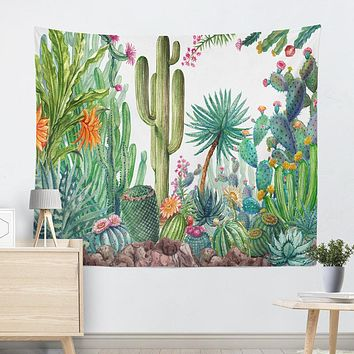 Casual Summer Cactus Tapestry