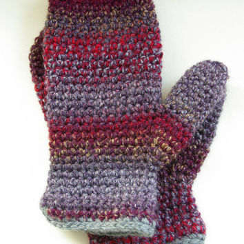 chunky mittens, wool mittens, crochet mittens, warm mittens, Winter fashion, ready to ship, UK seller