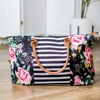 Striped + Floral Weekender Bag