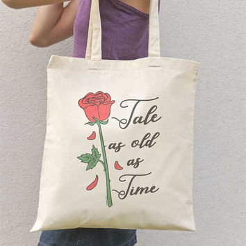 Enchanted rose tote bag-Tale as old tote bag-beauty and the beast tote bag-bride tote bag-cool tote bag-gift idea-gift for her-NATURA PICTA