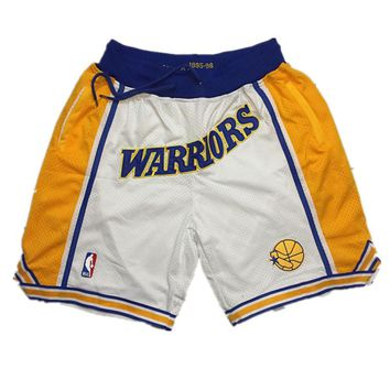 Just Don Golden State Warriors Vintage Embroidered Pocket Zipper Basketball Swingman Shorts White - Best Deal Online