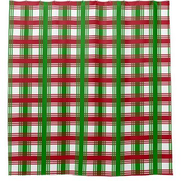 Christmas Holiday Red Green Plaid Decorative Shower Curtain