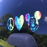 Peace Love Disney Mickey Mouse Car Decal Tie Dye Vinyl Sticker Hippy Disney