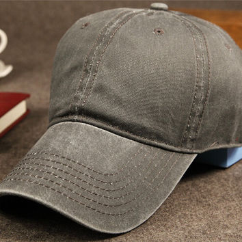 Dark Gray Vintage Washed Cotton Baseball Cap