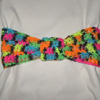 Flash Sale CYBER MONDAY Thick Chunky Colorful Neon and Black Knotted Headband For cold nights colorful