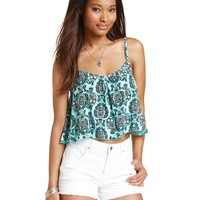 Planet Gold Juniors' Owl-Print Cropped Top