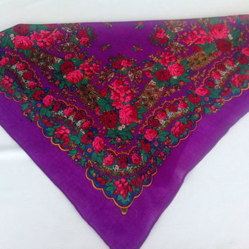 Purple Paisley scarf, Russian Scarf Gift for Grandmother, Retro Scarf, Boho gypsy scarf, Polish scarf Birthday Gift for Boss under 50
