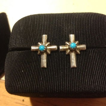 NAVAJO Turquoise Cross Earrings Studs Sterling Silver 925 Crucifix Blue Stone Vintage Southwestern Tribal Jewelry Native American Religious