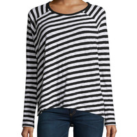 Camden Striped Long-Sleeve Tee, Black, Size: