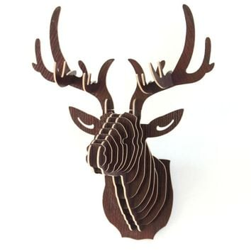 3D Puzzle Wooden DIY Creative Model Wall Hanging Deer Head Elk Wood Gift Craft Home Decoration Animal Wildlife painting