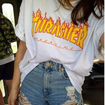 ICIKN6V Thrasher Magazine Flame Personality T-Shirt Print Short Sleeve Top