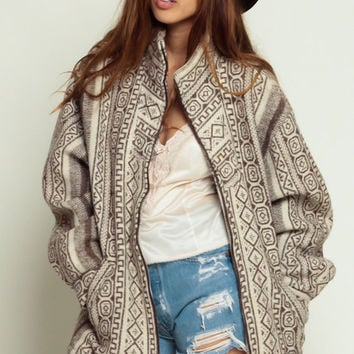 Tribal Blanket Coat WOOL Mexican Jacket 80s Southwest Aztec Print Ethnic 90s Boho Hippie Southwestern Vintage Cream Oversized large