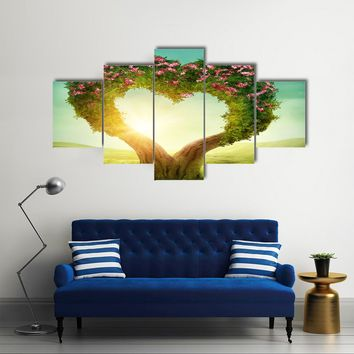 When The Trees Make A Heart In The Meadow Multi Panel Canvas Wall Art Set