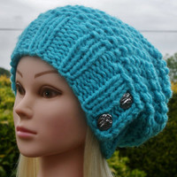 Knit Hat Womens Hat Slouchy Hat in Bright Blue -Beanie Hat-Womens Accessories