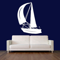 Wall Decal Vinyl Sticker Decals Art Decor Design Sail Saling Boat Ship Fishing Kids Anchor Children Funny Nursery Beedroom Gift  (r544)