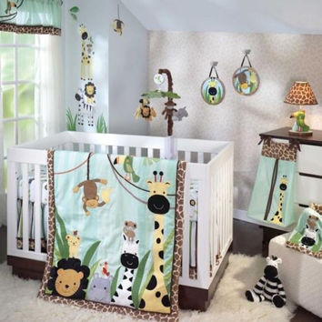 Lambs & Ivy Baby Crib 6 Piece Bedding Set Peek A Boo Jungle Includes Bumper
