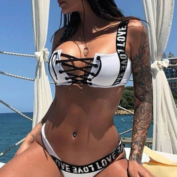 8DESS Sexy push up two-piece bodysuit women padded playsuit beach bathing suit  lace up swimsuit casual swimwear
