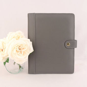 A5 Stud Leather PadFolio / Portfolio Multiple Pockets, Snap Closure, Personalized & Cocoa Paper Note Pad