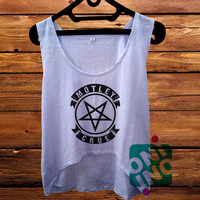 Motley Crue Pentagram Logo Crop Tank Women's Cropped Tank Top