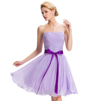 Beautiful Cheap Sweetheart Lace up Back to School Short Prom Dress Lilac Purple Sash Chiffon Slim Summer Party Dress Gown 00891