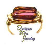 DWJ0543 Lovely Golden Raspberry Picasso Czech Art Glass Gold Wire Wrap Ring All