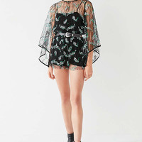 UO Embroidered Floral Mesh Romper | Urban Outfitters