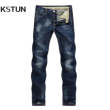 2017 Fashion Men's Jeans Classic Stretch Dark Blue Business Casual Pants Tapered Slim Fit Scratched Long Trousers Gentleman 36
