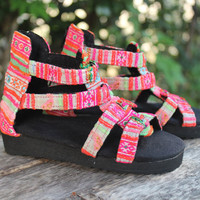 Little Girls Gladiator Sandals in Bright Hmong Embroidery