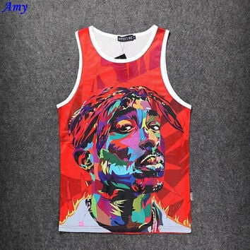 Hot men's Tank Tops mesh surface grid Quick-drying sweat men vest emoji 2pac Digital 3D Asian size M-XXL