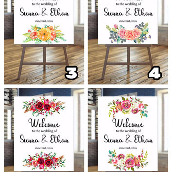 Flowers Bouquet | Digital sign | Wedding sign | Anniversary sign | Birthday sign | Custom sign | Customizable | Welcome sign |  Poster