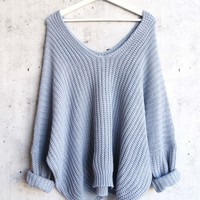 eight letters v neck oversized knit sweater in blue