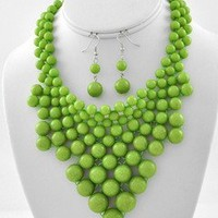Sassy Chunky Bubble Lime Green Beaded Statement Bib Playful Necklace Set Jewelry