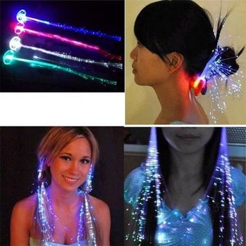 Luminous Light Up Flash LED Hair Braid Party Hairpin Decoration Flash Braid Hair Glow Light-Up Toys