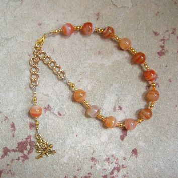 Hestia Prayer Bead Bracelet in Red Stripe Agate: Greek Goddess of the Hearth, Home and Family
