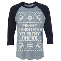 Zexpa Apparel™ Merry Christmas Ya Filthy Animal 3/4 Sleevee Raglan Tee Ugly Sweater Tee