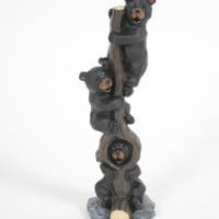 Bears Climbing Stump Figurines