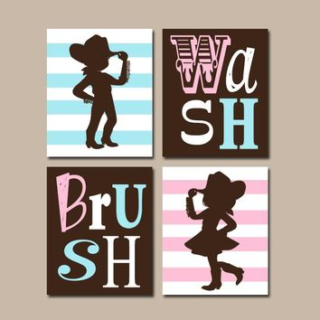 COUNTRY Bathroom Wall Art, Boy Girl Bathroom, Child Bath Decor, Cowboy Cowgirl, Brother Sister, Wash Brush Rules, Set of 4, Kid Bathroom