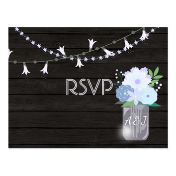 Rustic backyard mason jar Wedding RSVP add photo Postcard