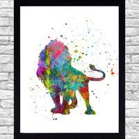 Wall Art Print Watercolor Printable Art, Lion Wall Art Download, Lion Wall Decor, Safari Animal Watercolor Paint Splatter Art, Lion Print