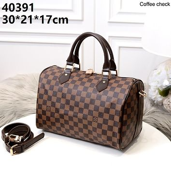 LV 2019 new women's classic old flower handbag pillow bag Coffee check